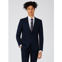Mens Blue Navy Textured Ultra Skinny Fit Suit Jacket, Blue