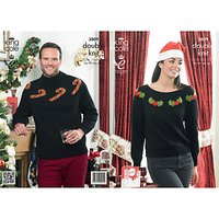 King Cole Big Value DK Men's and Women's Christmas Jumper Knitting Pattern, 3809