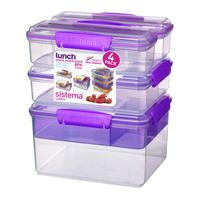 SISTEMA Snack Attack Stack Rectangular Boxes - Purple, Pack of 4, Purple