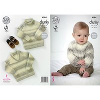 King Cole Comfort Chunky Baby Jumper Knitting Pattern, 4584