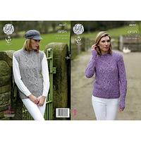 King Cole Fashion Aran Combo Women's Jumper and Slipover Knitting Pattern, 4624
