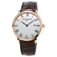 Frdrique Constant FC-306MR4S4 Men's Slimline Automatic Date Leather Strap Watch, Brown/White