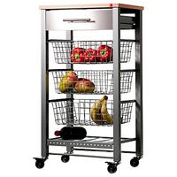 Hahn April Butcher's Trolley, Grey / Beech