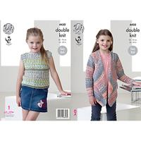 King Cole Drifter DK Children's Top and Cardigan Knitting Pattern, 4450