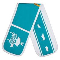 LEON Double Oven Glove, Teal / White