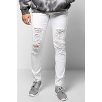 Fit Jeans With Extreme Rips - white