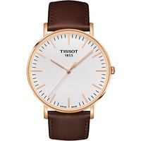Tissot T1096103603100 Men's T-Classic Everytime Leather Strap Watch, Dark Brown/White