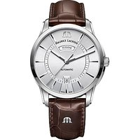 Maurice Lacroix PT6358-SS001-130-1 Men's Pontos Automatic Day Date Leather Strap Watch, Brown/Silver
