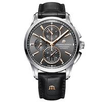 Maurice Lacroix PT6388-SS001-331-1 Men's Pontos Chronograph Date Automatic Leather Strap Watch, Blac
