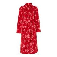 Linea Snowflake fleece robe red s/m