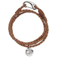 Under the Rose Personalised Men's Leather Bracelet, 1 Charm