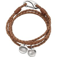 Under the Rose Personalised Men's Leather Bracelet, 2 Charms