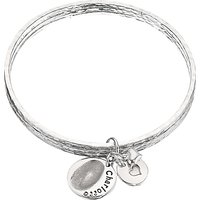 Under the Rose Personalised Fingerprint Charm Bangle, Silver