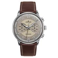 Junghans 027/3684.00 Men's Meister Driver Chronoscope Leather Strap Watch, Brown/Grey