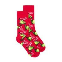 Mens Red Mistletoad Christmas Socks, Red