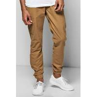 Woven Joggers With Elasticated Waistband - camel