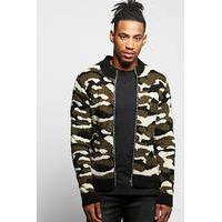 Zip Through Knitted Bomber - camo