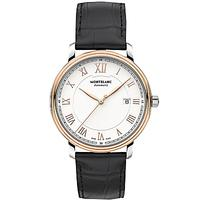 Montblanc 114336 Men's Tradition Automatic Date Alligator Leather Strap Watch, Black/White