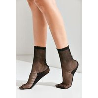 Out From Under Black Fishnet Crew Socks, Black