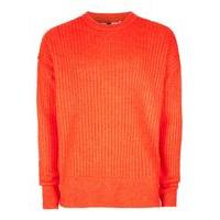 Mens Orange Ribbed Jumper, Orange