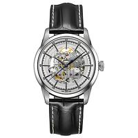 Hamilton H40655751 Men's American Classic Railroad Skeleton Automatic Leather Strap Watch, Black/Sil