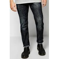 Fit Jeans With Sand Blasting - dark blue