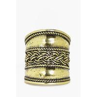Plait Detail Boho Statement Ring - gold