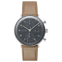 Junghans 027/4501.01 Men's Max Bill Automatic Chronoscope Day Date Leather Strap Watch, Camel/Grey