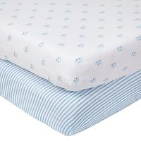 John Lewis Baby Car Cotbed Fitted Sheet, 140 x 70cm, Pack of 2