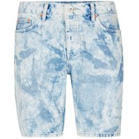 Mens Light Blue Bleach Wash Blue Slim Denim Shorts, Light Blue