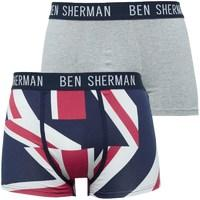 Ben Sherman Mens Elliot Two Pack Trunks Navy Print/Grey