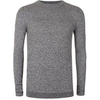 Mens Grey Salt and Pepper Ribbed Muscle Fit Jumper, Grey
