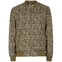 Mens Green Khaki Abstract Camouflage Bomber Jacket, Green