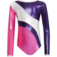 Tappers and Pointers Sparkling Foiled Stripes Gymnastics Leotard, Pink/Purple