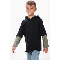 Double Layer Hooded Sweat Top - black