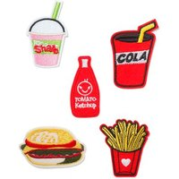 Mens Red Fast Food Iron On Badges*, Red