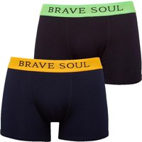 Brave Soul Mens Bruno Two Pack Boxers Black/Lime