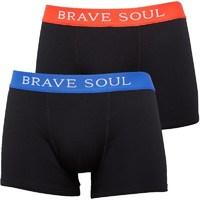 Brave Soul Mens Bruno Two Pack Boxers Black/Red