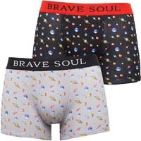Brave Soul Mens Planet Two Pack Boxers Black/Red
