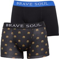 Brave Soul Mens Burger Two Pack Boxers Black/White