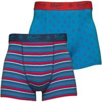 Original Penguin Mens Two Pack Boxers Diva Blue/Denim Blue/Chinese Red