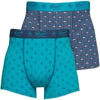 Original Penguin Mens Two Pack Boxers Medieval Blue/Scuba Blue
