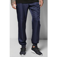 Cuff Woven Joggers With Zip Pockets - navy