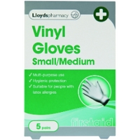 Lloydspharmacy Vinyl Gloves Small/Medium - 5 Pairs