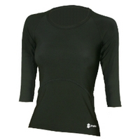 Proskins Slim Ladies 3/4 Length Sleeve Shirt Black - Size 14
