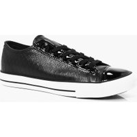 Skin Lace Up Trainers - black