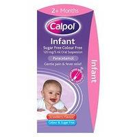 Calpol Infant Sugar Free & Colour Free 120 mg/5 ml Oral Suspension Strawberry Flavour 2+ Months - 10