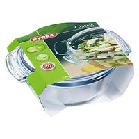 Pyrex Easy Grip Glass Round Casserole Oven Dish with Lid, 2.1L