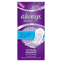 Always Dailies Pantyliners Normal Individually Wrapped 20 Liners