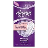 Always Dailies Pantyliners Normal Individually Wrapped With Gentle Fresh Scent 20 Liners